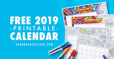 2019 calendar to color