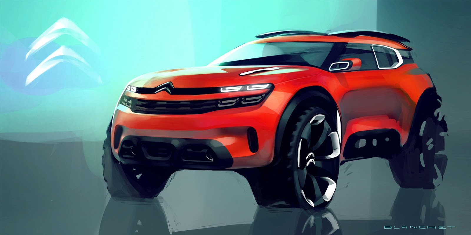 Citroen Aircross concept 2015 photoshop sketch by Gregory Blanchet