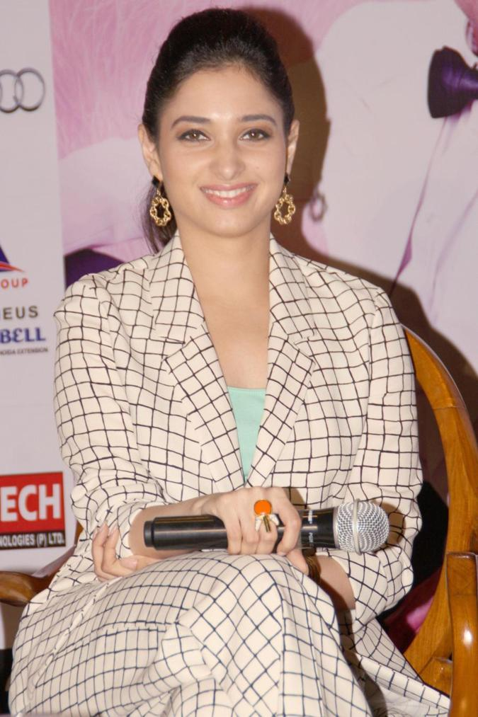 Beautiful Marathi Girl Tamannaah In Blue Top At Press Conference New Delhi