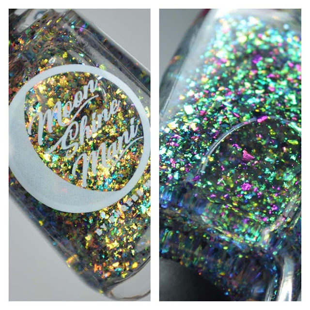 color shifting flakie nail polish topper in a bottle