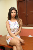 Nishi Ganda stunning cute in Flower Print short dress at Tick Tack Movie Press Meet March 2017 229.JPG
