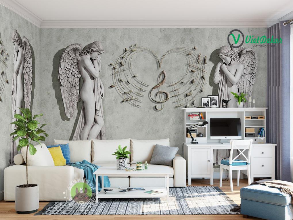 Tranh dán tường 3d điêu khắc châu âu