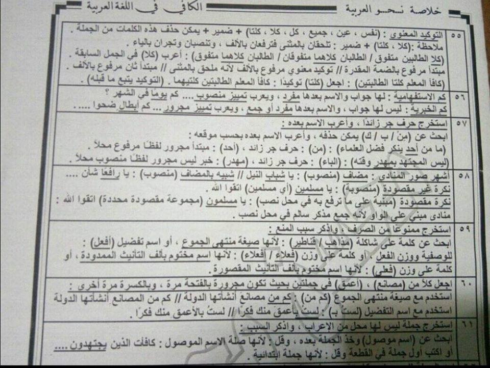 أقوى مراجعات اللغة العربية للصف الثالث الثانوي 60