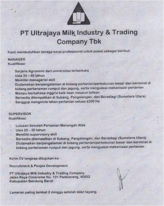 Lowongan Kerja PT. Ultrajaya Milk Industry & Trading Company Tbk Januari 2017