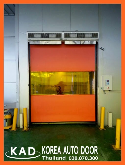 high speed door with air curtains blows insects and dust away