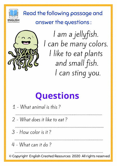 Reading and Writing Sea Animals