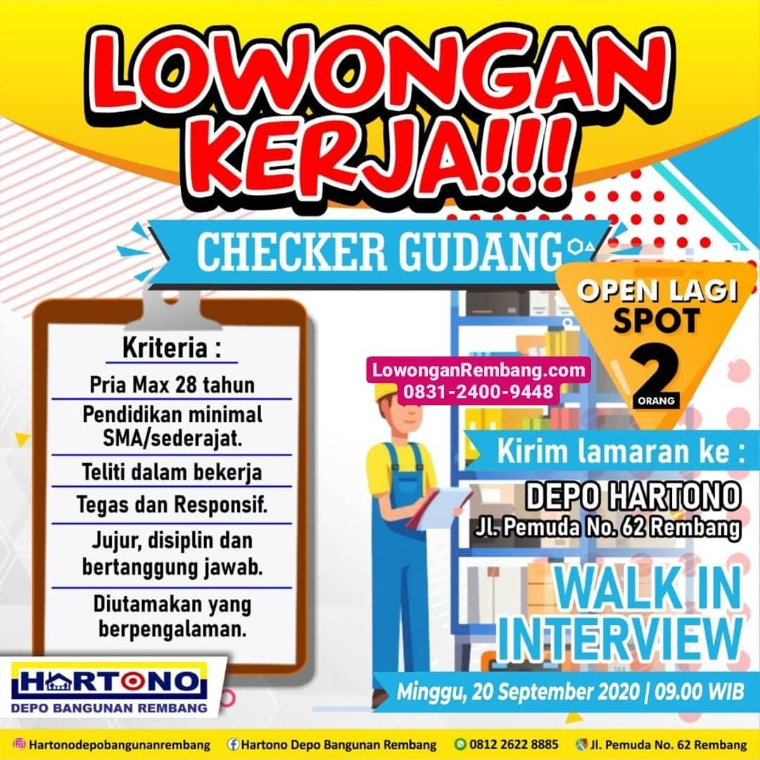 Lowongan Kerja Checker Gudang Hartono Depo Toko Bangunan Rembang