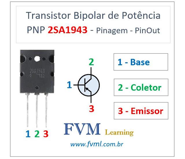 Pinagem - Pinout - Transistor Bipolar de Potência PNP 2SA1943 - Características