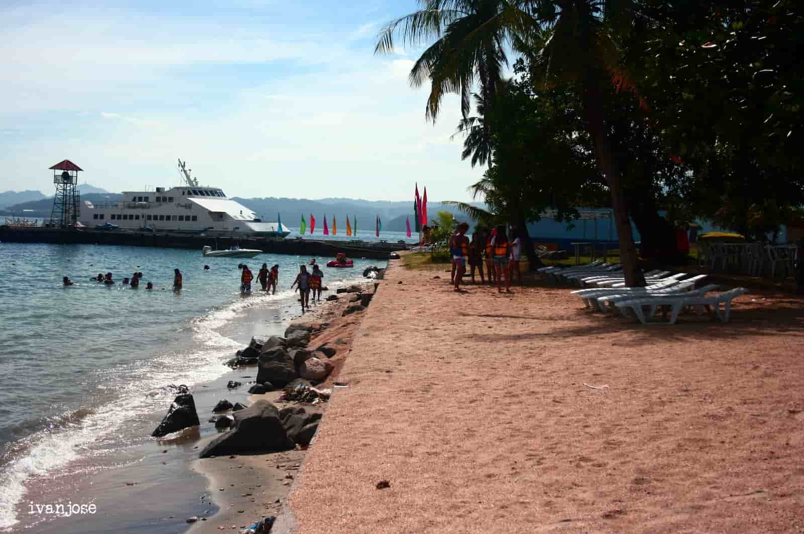 The segment of the beach near the port at Grande Island Resort