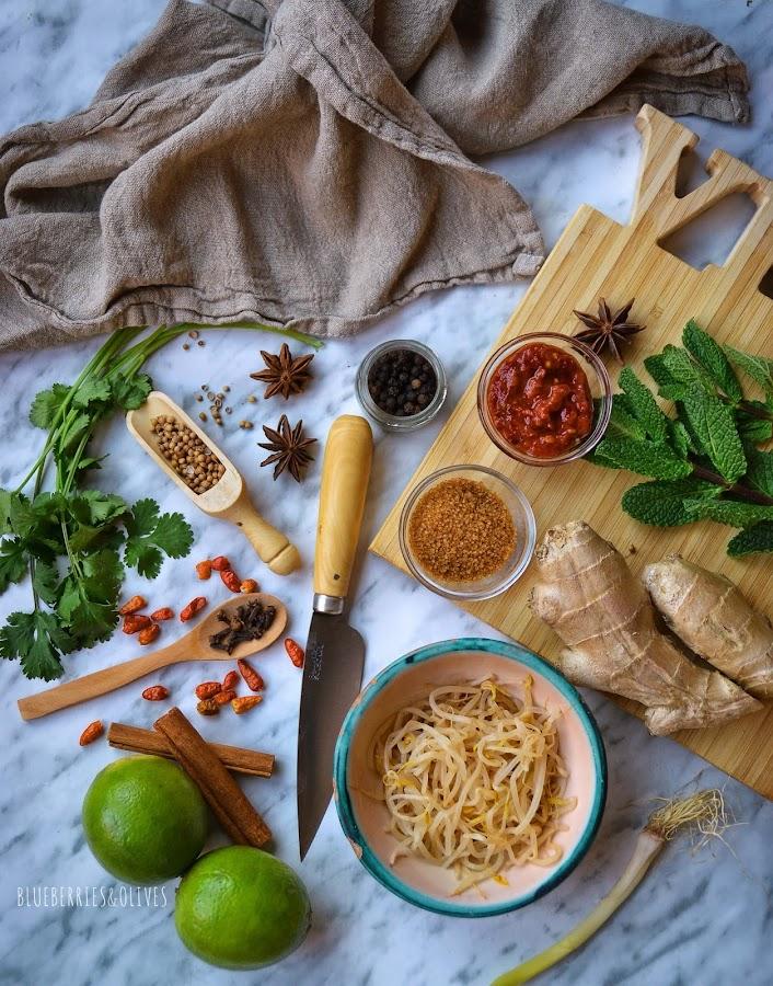 INGREDIENTES - PHỞ GÀ , Sopa Vietnamita de pollo y noodles