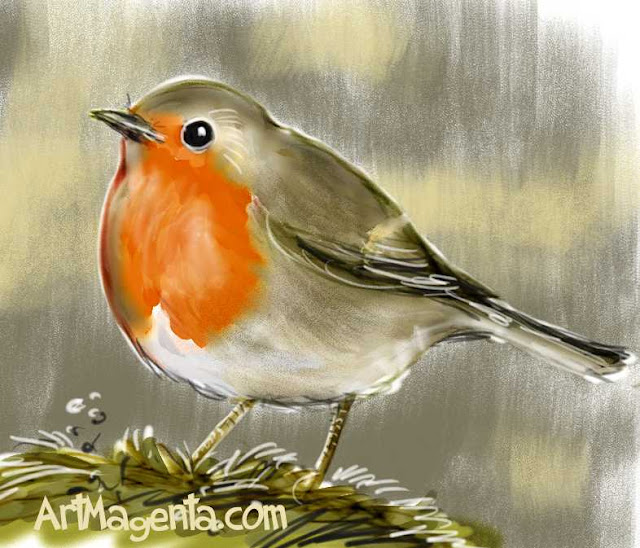 Robin sketch painting. Bird art drawing by illustrator Artmagenta