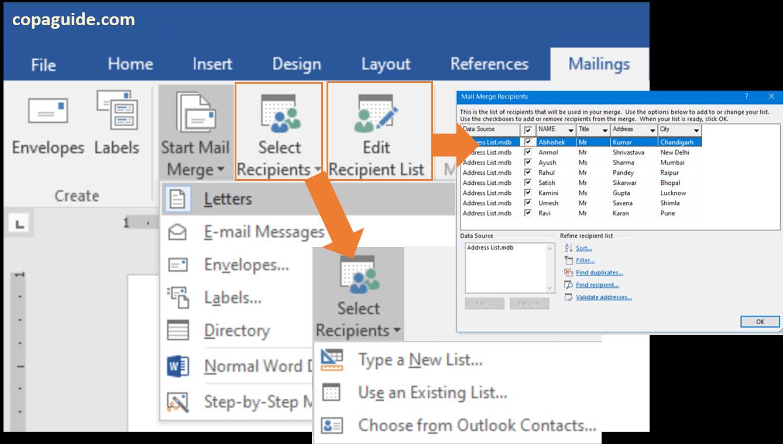 Microsoft Word - Using Start Mail Merge Command