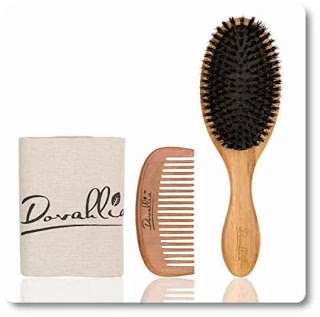 Boar Bristle Hair Brush Set for Thin and Normal Hair by Dovahlia