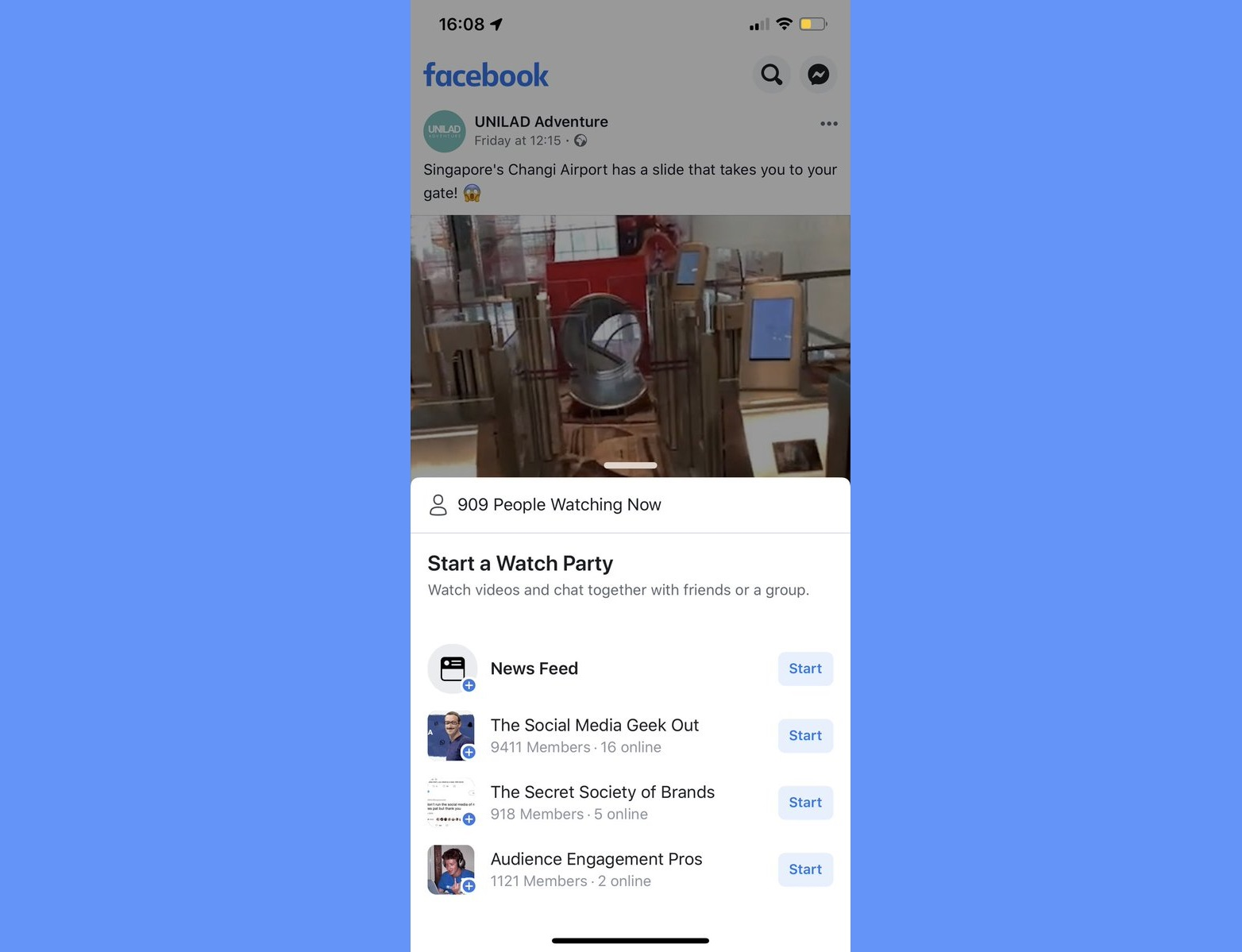 Facebook is using News Feed Videos to Promote Watch Parties