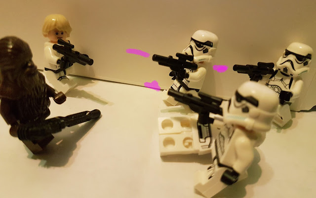 Luke Skywalker and Chubaka, skirmish with the stormtroopers of the Empire Death Star A New Hope lego Star Wars