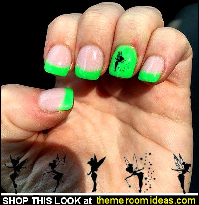 Tinkerbell Fairy Nail Decals Tinkerbell nail decorations disney fairy nail design ideas  tinkerbell nail art