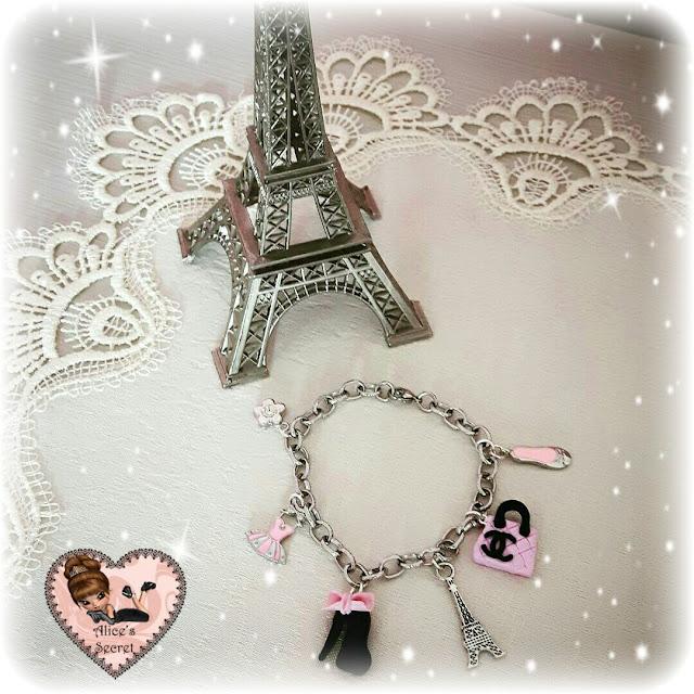 braccialetto in acciaio con charms in fimo