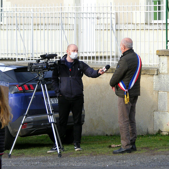 Mayor of Preuilly sur Claise being interviewed by TVTours, Indre et Loire, France. Photo by Loire Valley Time Travel.