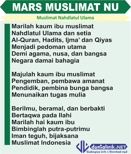 teks mars muslimat nahdlatul ulama resmi