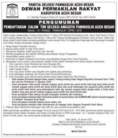 Gambar untuk Pendaftaran Calon Anggota Panwaslih Aceh Besar2