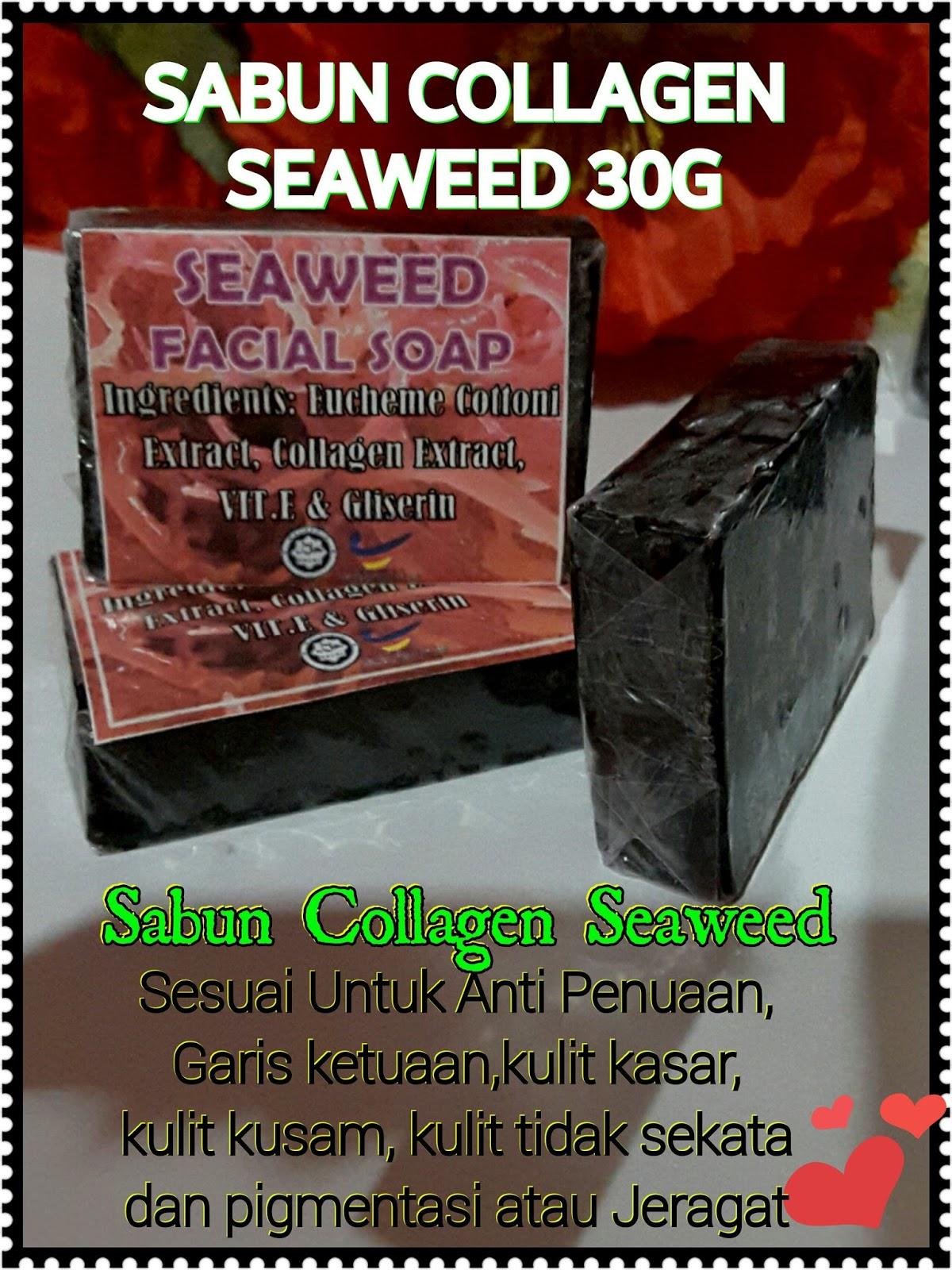 Set Seaweed Skincare Sabun Collagen Hitam Sha Colagen