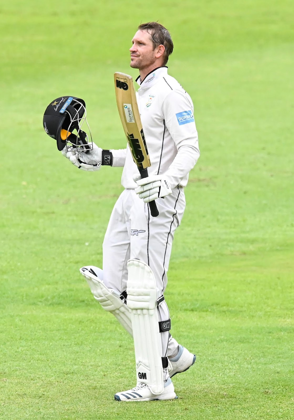 Sarel Erwee - Raising his bat after scoring a century for the Hollywoodbets Dolphins in their 4-Day clash with the VKB Knights
