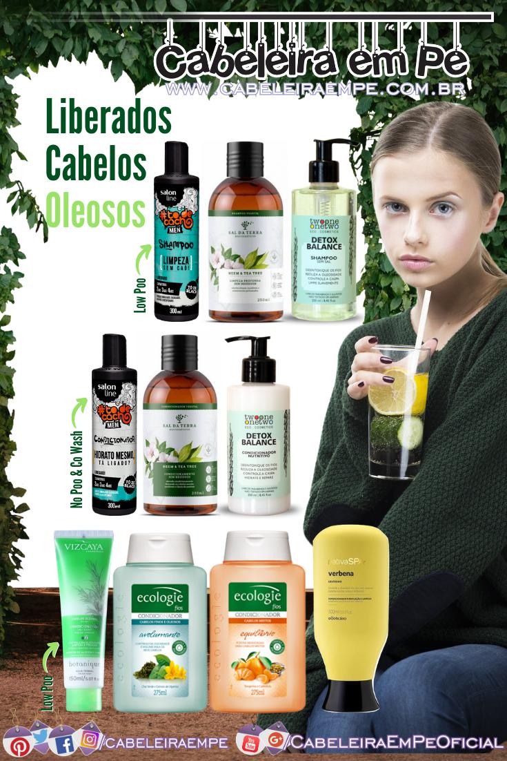 Shampoos e Condicionador Low Poo para Cabelos Oleosos - Liberados da Salon Line, Sal da Terra, Twoone OneTwo, Viscaya, Ecologie e O Boticário