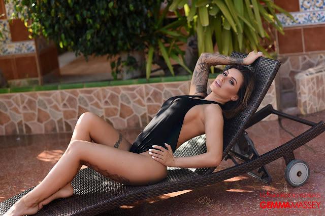Gemma Massey posing sexy in black bodysuit