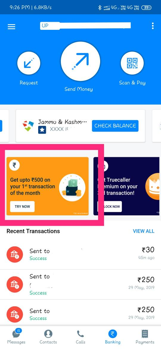 Get upto free ₹500 in your bank account from truecaller