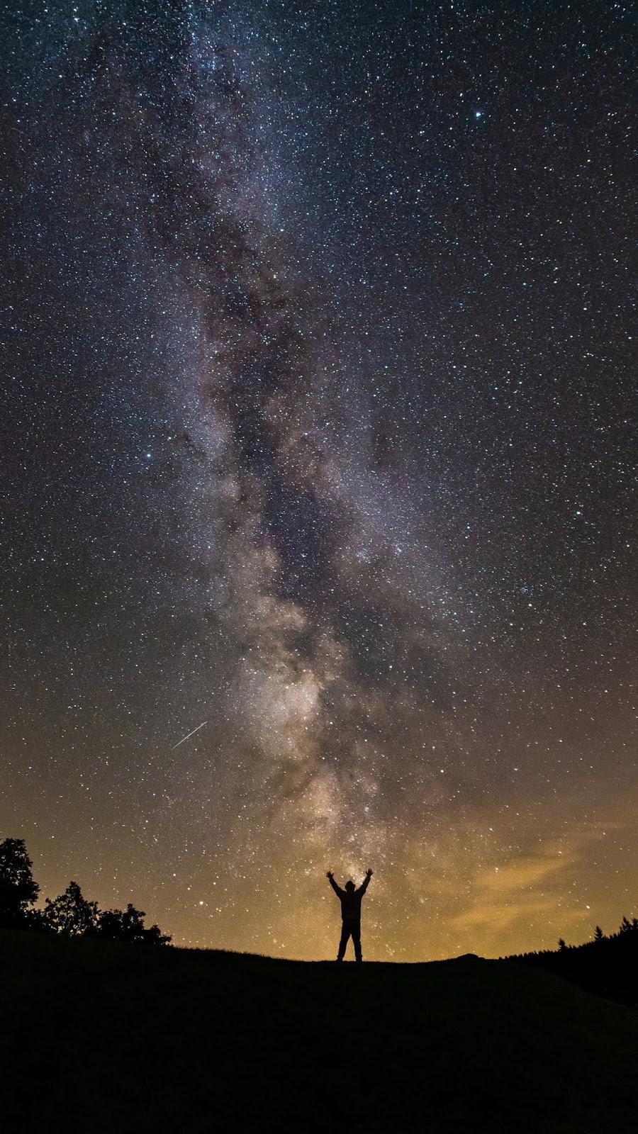 Milky way under night sky