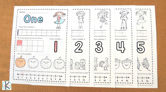 FREE Fall Worksheets Counting 1-5