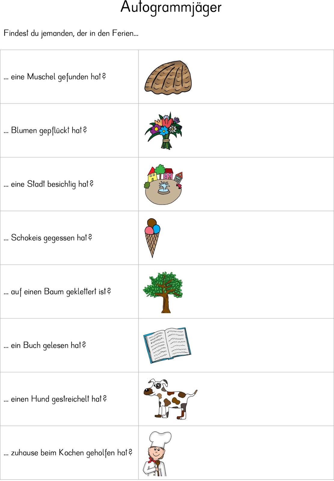 Autogrammjäger   Erzählen nach den Ferien   Das verfuchste ...