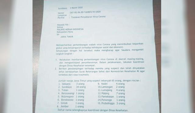 Surat dari PMI Jawa Timur yang beredar