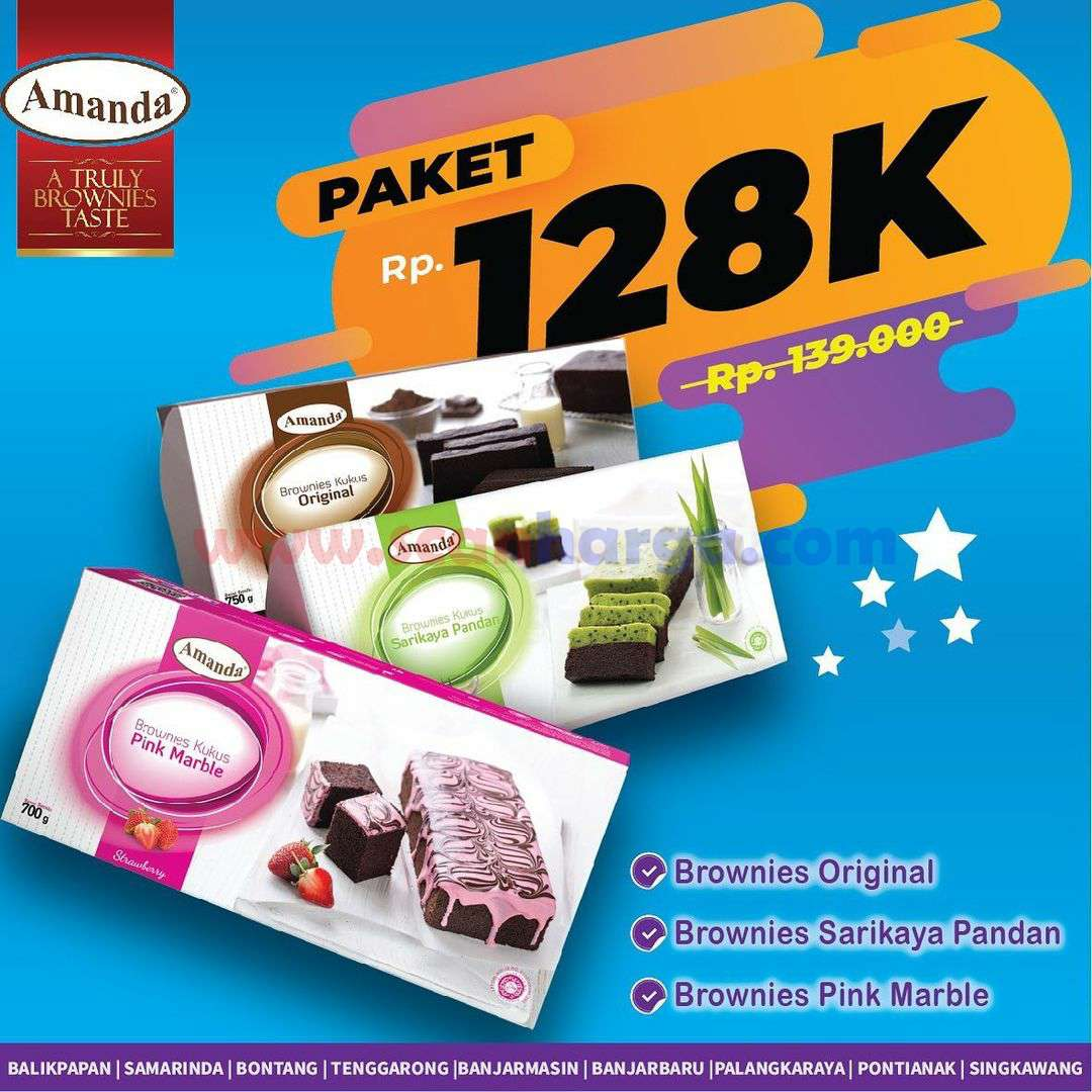 Promo AMANDA BROWNIES - Beli 3 Paket Brownies hanya Rp. 128.000