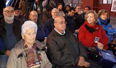 Filatelistas en la presentación del sello de El Minero en el Pozo Sotón