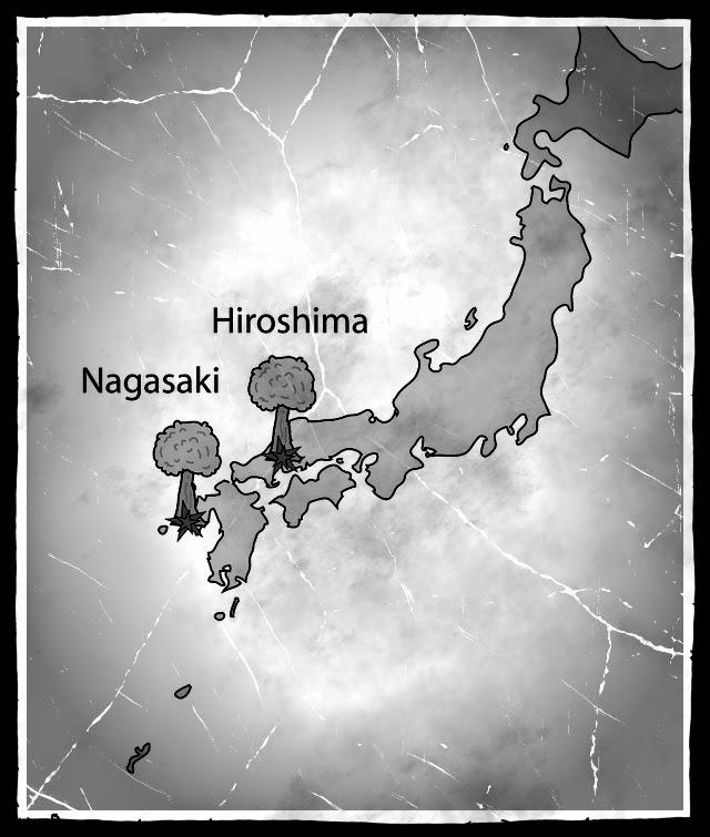 Хиросима и Нагасаки на карте Японии