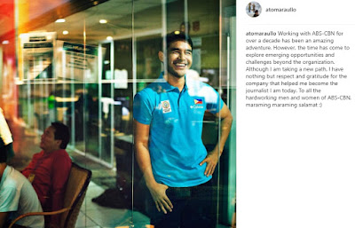 Atom Araullo statement on leaving Abs-Cbn on his Instagram post
