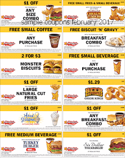 free Hardees coupons february 2017