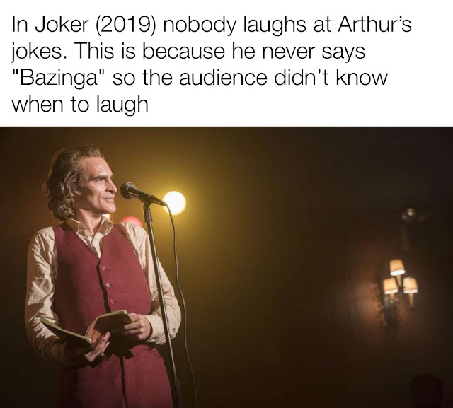 """arthur fleck stand up - In Joker 2019 nobody laughs at Arthur's jokes. This is because he never says """"Bazinga"""" so the audience didn't know when to laugh"""