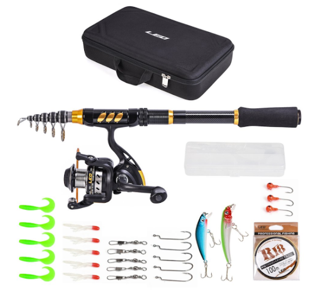 Lixada Fishing Rod and Reel Combo Carbon Fiber Telescopic Fishing Rod with Spinning Reel Fishing Line Lures Hooks Swivels Saltwater Freshwater Travel Fishing Accessories Kit