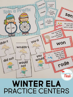 ELA Centers for the winter plus a few FREEBIES- blog post highlighting hands-on activities for kids