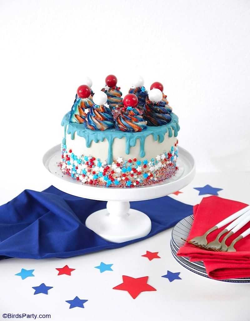 Red, White and Blue 4th of July Layer Cake - a true showstopper layer drip cake with vanilla sponge covered in delicious American buttercream! by BirdsParty.com @birdsparty #cake #layercake #dripcake #4thjuly #layereddesserts #redwhitebluecake #redwhiteblue