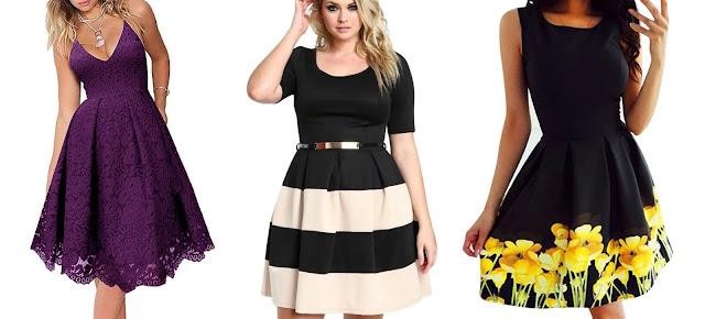Vestidos cortos de fiesta, el primero en lila de encaje, el segundo blanco y negro con la falda a rayas y el tercero negro con flores amarillas en la falda de la tienda Elegrina
