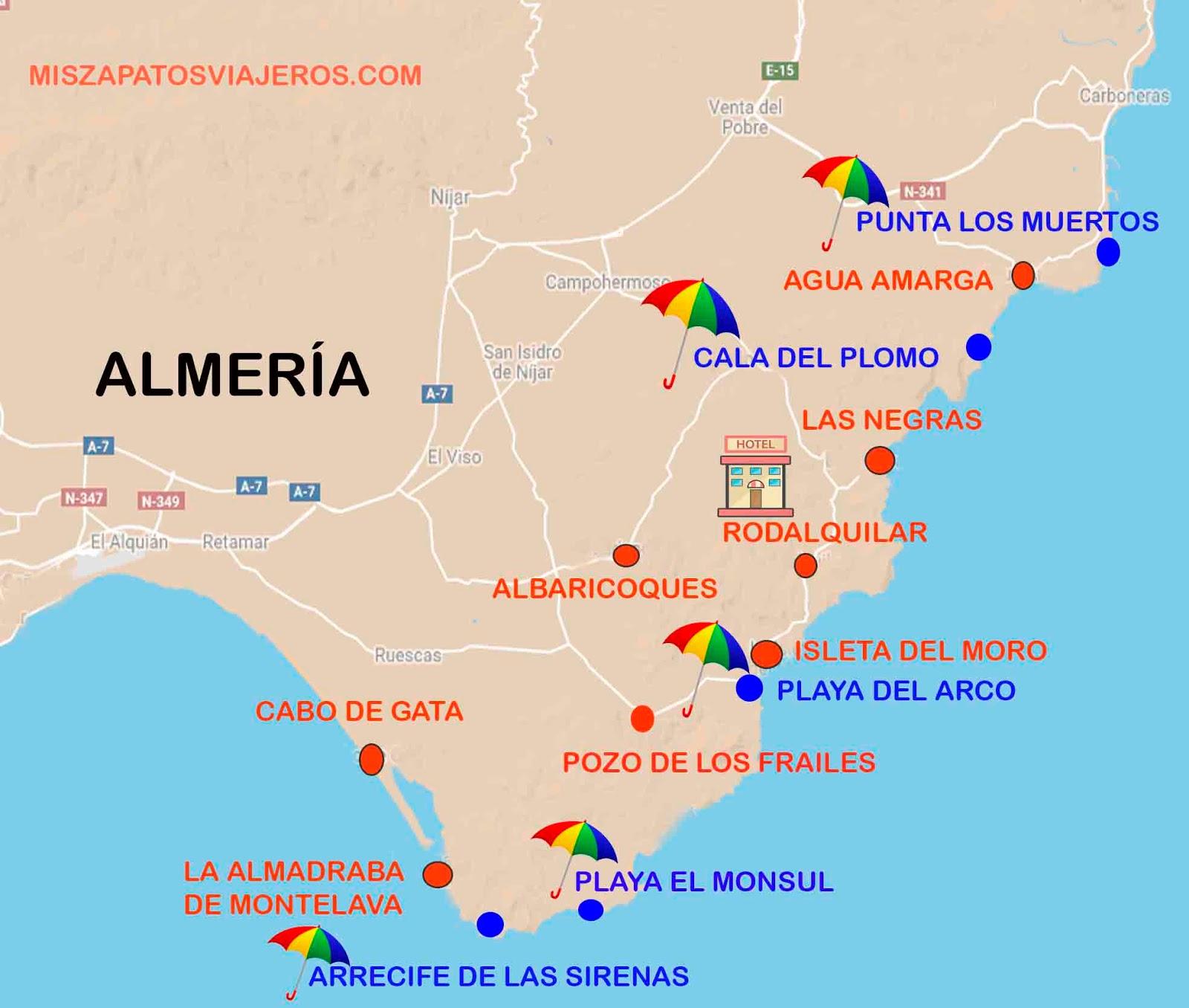 Cabo De Gata Mapa.Miszapatosviajeros Recorrido Por Cabo De Gata Almeria Parte I