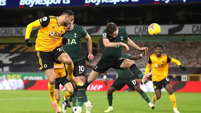 Wolves defender Saiss scoring against Tottenham