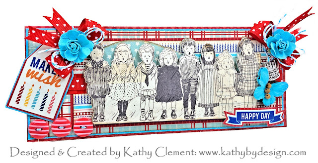 Happy Birthday Slimline Card Authentique Hooray by Kathy Clement