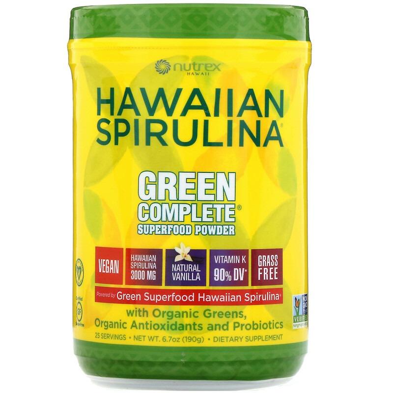 Nutrex Hawaii, Гавайская спирулина, порошок из суперфудов Green Complete, натуральная ваниль, 190 г (6.70 унций)