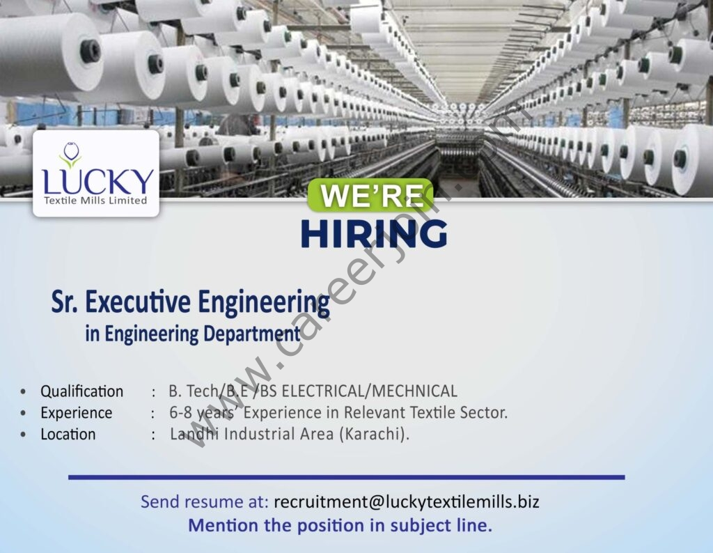 Lucky Textile Mills Ltd Jobs 2021 in Pakistan - Apply via recruitment@luckytextilemills.biz