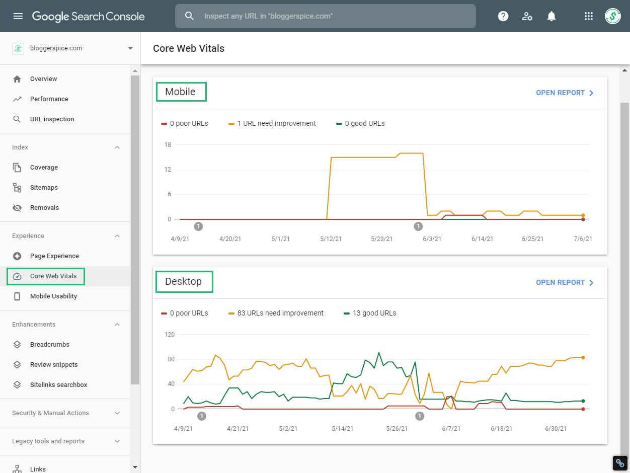 Core Web Vitals in google search console