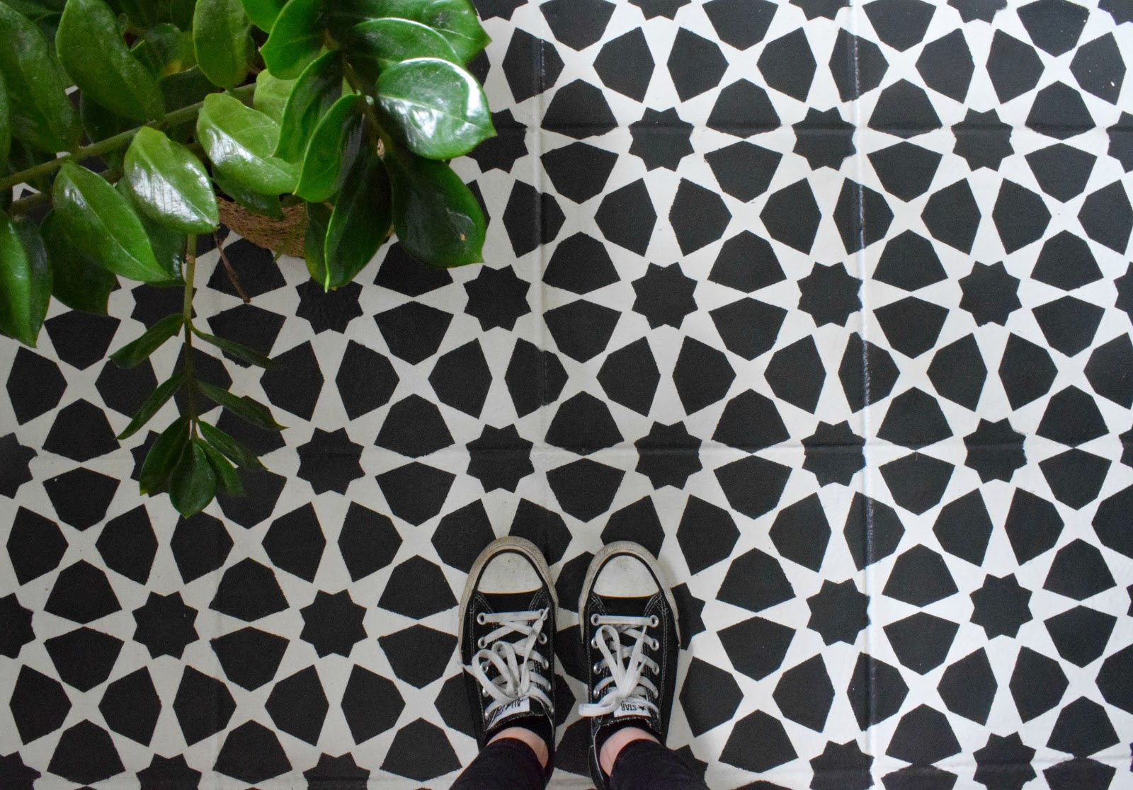 Oops i did it againinted tile floor 20 make do and diy how to stencil a tile floor with chalk paint to get the look of moroccan tile dailygadgetfo Choice Image
